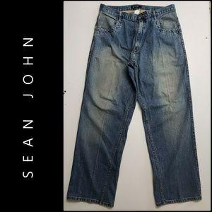 Sean John Men Denim Blue Straight Cotton Jeans 36